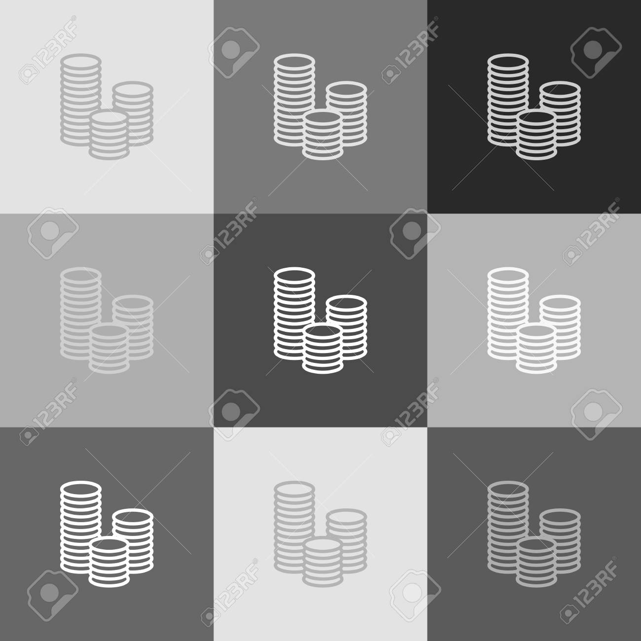 Money sign illustration. Vector. Grayscale version of Popart-style icon.